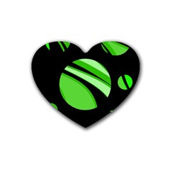 Green Balls   Heart Coaster (4 Pack)  by Valentinaart
