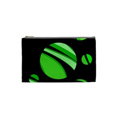 Green Balls   Cosmetic Bag (small)  by Valentinaart