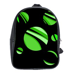 Green Balls   School Bags(large)  by Valentinaart
