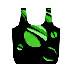 Green Balls   Full Print Recycle Bags (m)  by Valentinaart