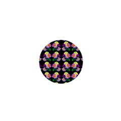 Rosa Yellow Roses Pattern On Black 1  Mini Buttons by Costasonlineshop