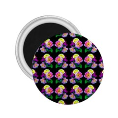 Rosa Yellow Roses Pattern On Black 2 25  Magnets by Costasonlineshop
