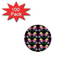 Rosa Yellow Roses Pattern On Black 1  Mini Buttons (100 Pack)  by Costasonlineshop