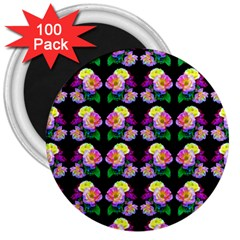 Rosa Yellow Roses Pattern On Black 3  Magnets (100 Pack) by Costasonlineshop