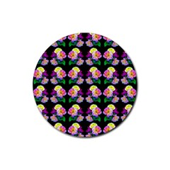 Rosa Yellow Roses Pattern On Black Rubber Coaster (round)  by Costasonlineshop
