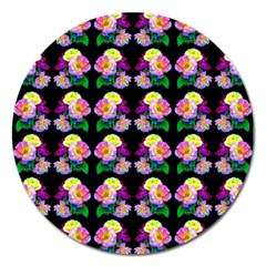 Rosa Yellow Roses Pattern On Black Magnet 5  (round) by Costasonlineshop