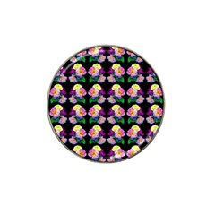 Rosa Yellow Roses Pattern On Black Hat Clip Ball Marker by Costasonlineshop
