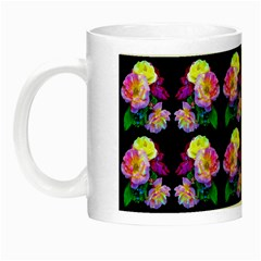 Rosa Yellow Roses Pattern On Black Night Luminous Mugs by Costasonlineshop
