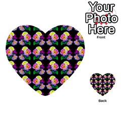 Rosa Yellow Roses Pattern On Black Multi Purpose Cards (heart)  by Costasonlineshop