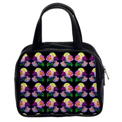 Rosa Yellow Roses Pattern On Black Classic Handbags (2 Sides) by Costasonlineshop