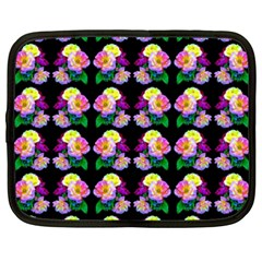 Rosa Yellow Roses Pattern On Black Netbook Case (xxl)  by Costasonlineshop