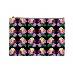 Rosa Yellow Roses Pattern On Black Cosmetic Bag (large)  by Costasonlineshop