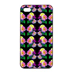 Rosa Yellow Roses Pattern On Black Apple Iphone 4/4s Seamless Case (black) by Costasonlineshop