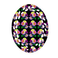 Rosa Yellow Roses Pattern On Black Ornament (oval Filigree)  by Costasonlineshop