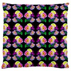 Rosa Yellow Roses Pattern On Black Large Cushion Case (two Sides) by Costasonlineshop