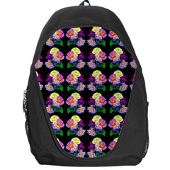 Rosa Yellow Roses Pattern On Black Backpack Bag by Costasonlineshop