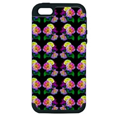 Rosa Yellow Roses Pattern On Black Apple Iphone 5 Hardshell Case (pc+silicone)