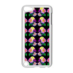 Rosa Yellow Roses Pattern On Black Apple Ipod Touch 5 Case (white) by Costasonlineshop
