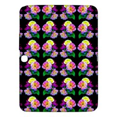 Rosa Yellow Roses Pattern On Black Samsung Galaxy Tab 3 (10 1 ) P5200 Hardshell Case  by Costasonlineshop