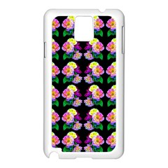 Rosa Yellow Roses Pattern On Black Samsung Galaxy Note 3 N9005 Case (white) by Costasonlineshop