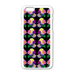 Rosa Yellow Roses Pattern On Black Apple Iphone 6/6s White Enamel Case by Costasonlineshop