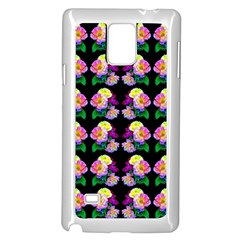 Rosa Yellow Roses Pattern On Black Samsung Galaxy Note 4 Case (white) by Costasonlineshop