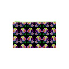 Rosa Yellow Roses Pattern On Black Cosmetic Bag (xs) by Costasonlineshop