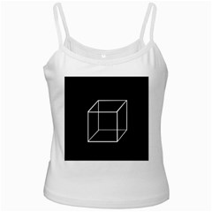 Simple Cube White Spaghetti Tank by Valentinaart