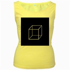 Simple Cube Women s Yellow Tank Top by Valentinaart