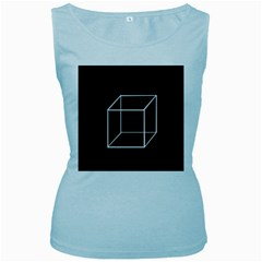 Simple Cube Women s Baby Blue Tank Top