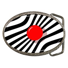 Abstract Red Ball Belt Buckles by Valentinaart
