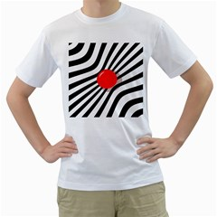 Abstract Red Ball Men s T-shirt (white)  by Valentinaart