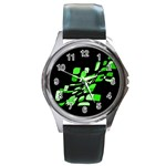 Green decorative abstraction Round Metal Watch Front