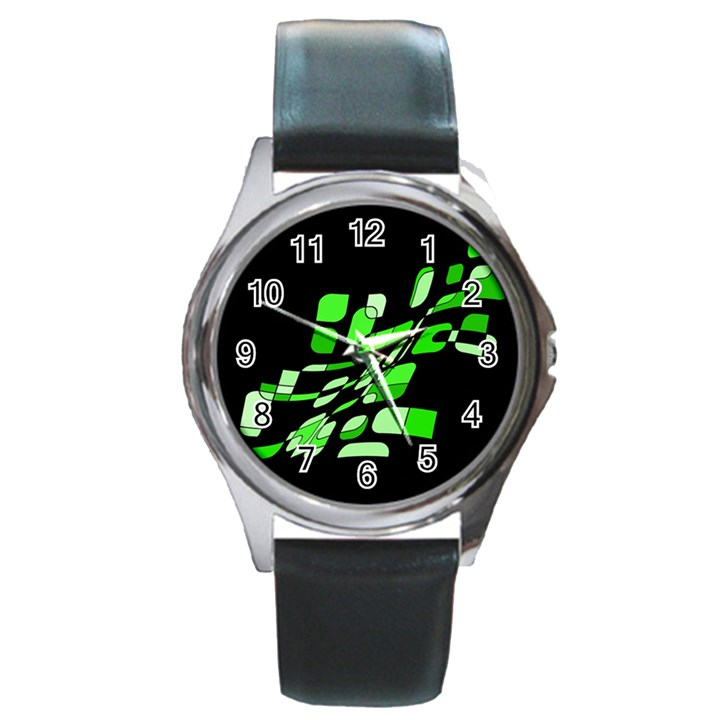 Green decorative abstraction Round Metal Watch