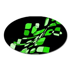 Green Decorative Abstraction Oval Magnet by Valentinaart
