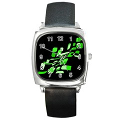 Green Decorative Abstraction Square Metal Watch by Valentinaart