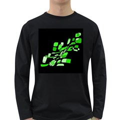 Green Decorative Abstraction Long Sleeve Dark T Shirts by Valentinaart