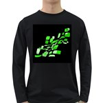 Green decorative abstraction Long Sleeve Dark T-Shirts Front