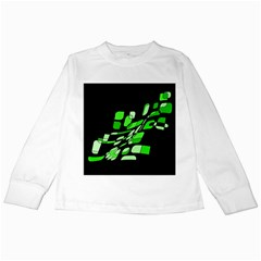 Green Decorative Abstraction Kids Long Sleeve T Shirts by Valentinaart