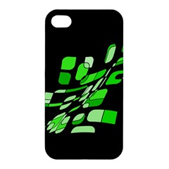 Green Decorative Abstraction Apple Iphone 4/4s Premium Hardshell Case by Valentinaart