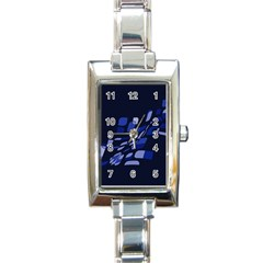 Blue Abstraction Rectangle Italian Charm Watch by Valentinaart