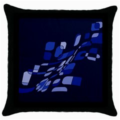 Blue Abstraction Throw Pillow Case (black) by Valentinaart