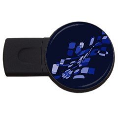 Blue Abstraction Usb Flash Drive Round (2 Gb)  by Valentinaart