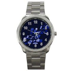 Blue Abstraction Sport Metal Watch by Valentinaart