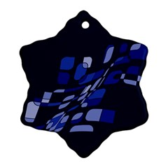 Blue Abstraction Snowflake Ornament (2 Side)