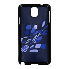 Blue Abstraction Samsung Galaxy Note 3 Neo Hardshell Case (black) by Valentinaart