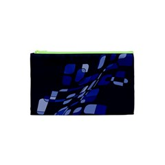 Blue Abstraction Cosmetic Bag (xs) by Valentinaart