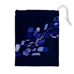 Blue Abstraction Drawstring Pouches (extra Large) by Valentinaart