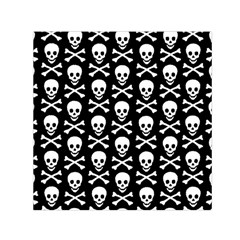 Skull And Crossbones Pattern Small Satin Scarf (square) by ArtistRoseanneJones