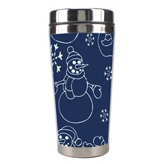 Winter Snowman Pattern Stainless Steel Travel Tumblers by BubbSnugg